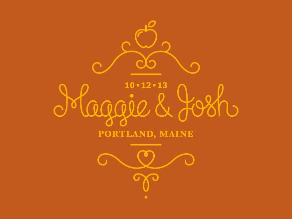 wedding logo in orange colour