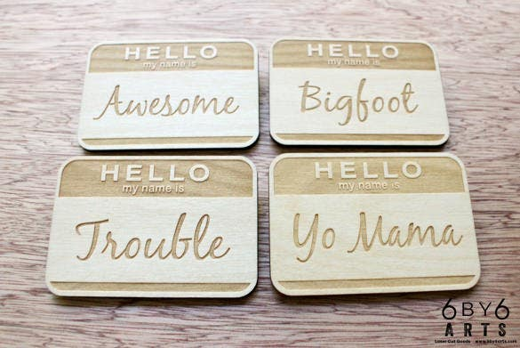 laser engraved wood name tag printable