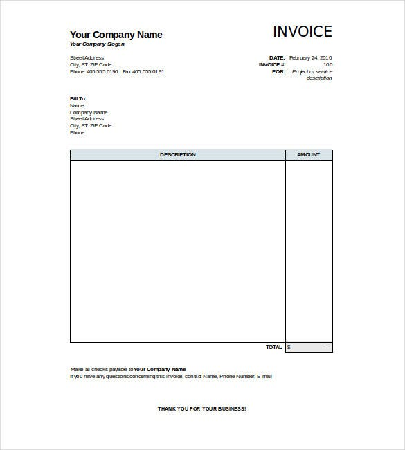 Sample Invoice Templates Free Printable Business Invoice Template