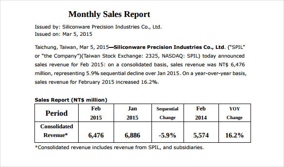 21 Monthly Sales Report Templates Free Sample Example Format – Sales Report Template Free