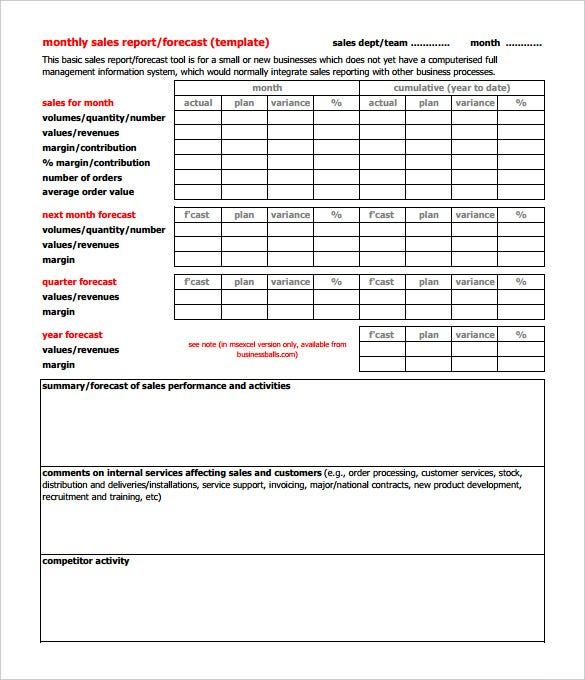 printable monthly sales report forecast template pdf format