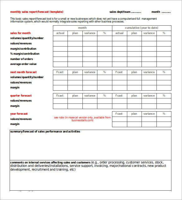 business monthly sales report template excel format