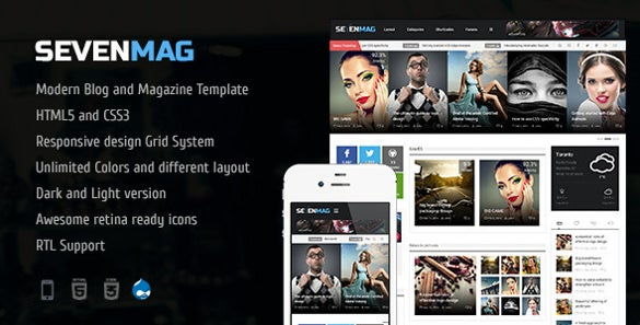 sevenmag blog news drupal theme