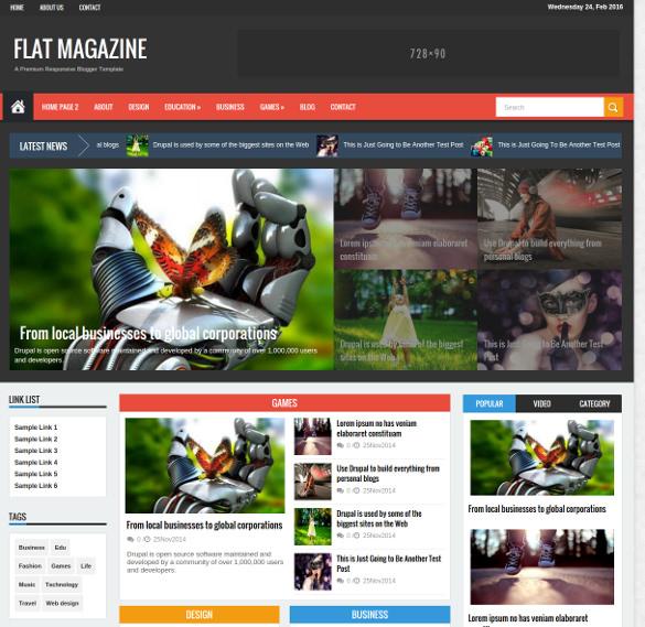 flat mag responsive magazine news drupal theme