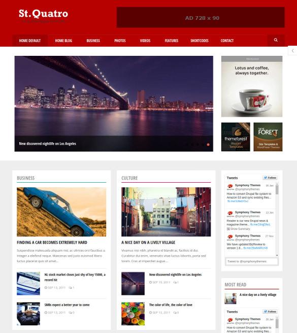 quatro news magazine drupal theme