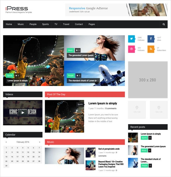 ipress responsive news drupal theme