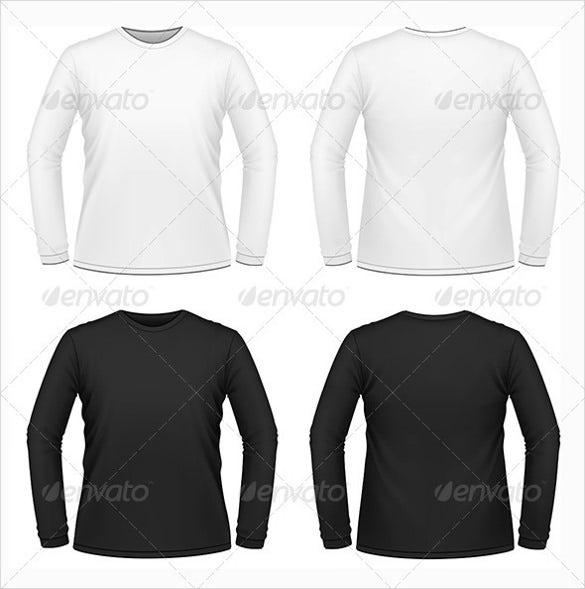 long sleeved blank t shirts in white and black