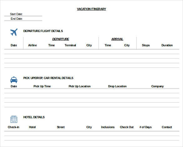 Trip Itinerary Template 20 Free Word Excel Documents Download – Travel Itinerary Example