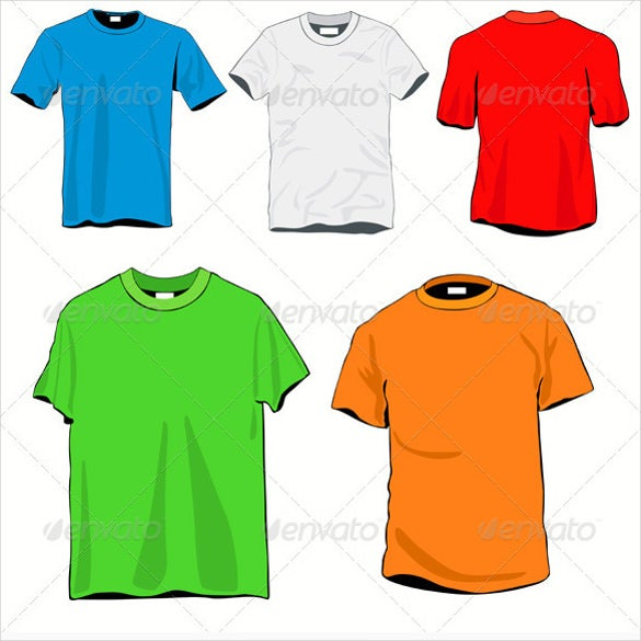colourful blank t shirts template set