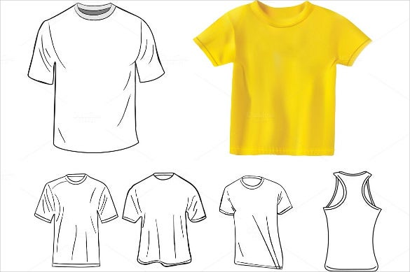 t shirt design blank template set