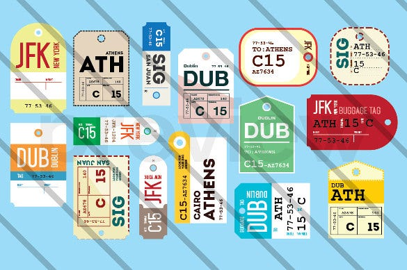 Luggage tag template free psd templates download free for Airline luggage tag template