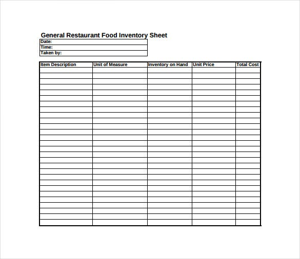 General Restaurant Food Inventory Spreadsheet Sample PDF Free Download  Inventory Sheet Sample