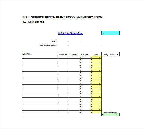 full service restaurant spreadheet excel template free download