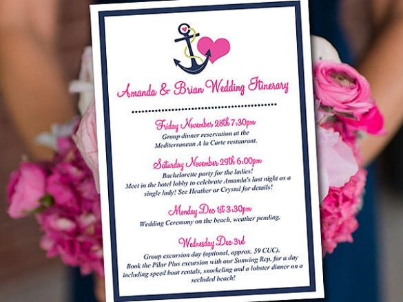 beautiful beach wedding itinerary template