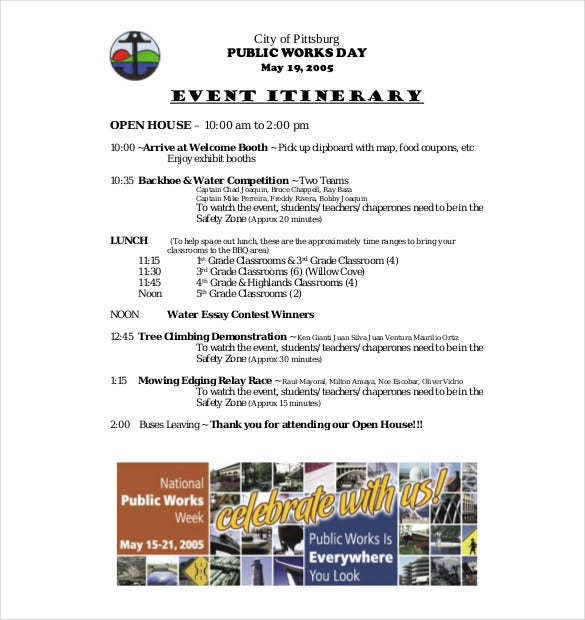 Event Itinerary Template   Free Word Documents Download  Free