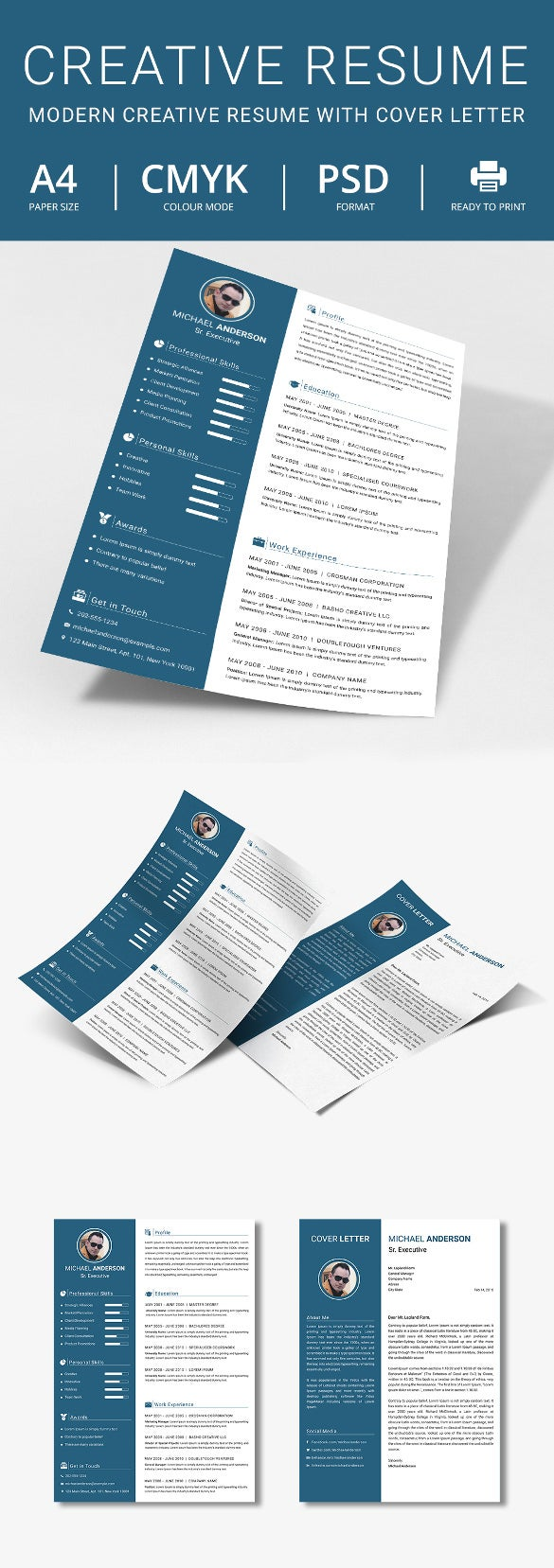 Modern Creative Executive Resume  Cover Letter Template  Free