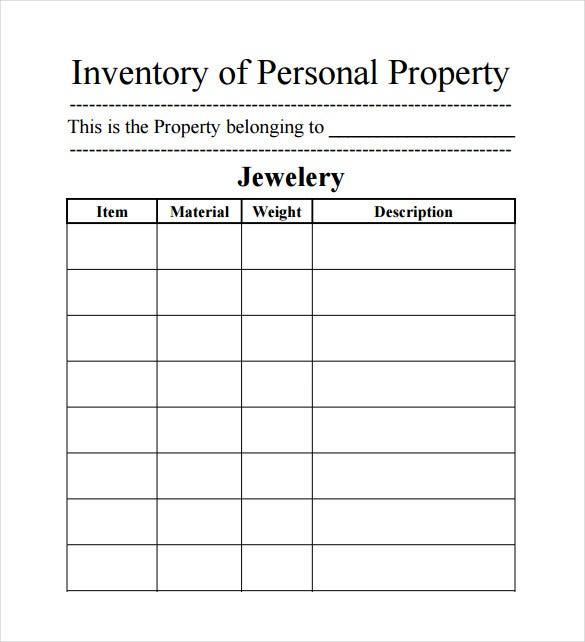 jewelery inventory spreadsheet free pdf template download