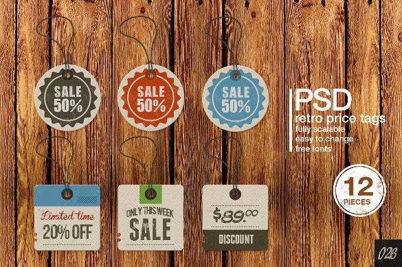 12 retro labels and price tags psd format template