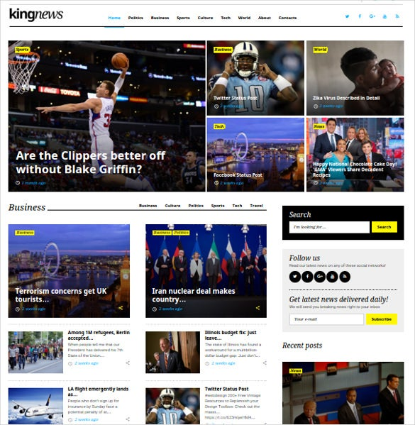 19 news html 5 themes templates free premium templates download kingnews newspaper html5 theme to create classic news websites with awesome features like huge set of premium widgets responsive design saigontimesfo