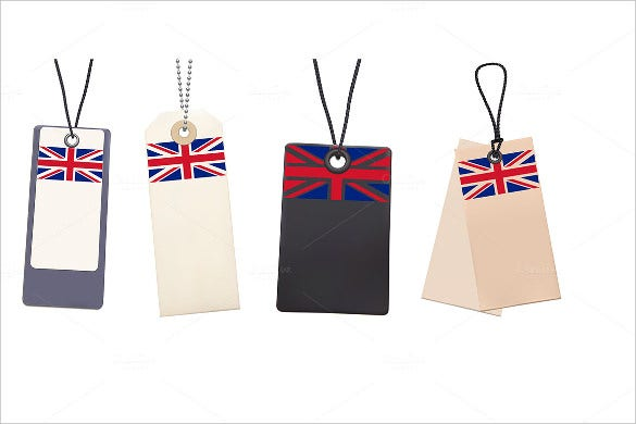 blank price tags with flag of uk template1