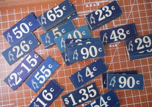 vintage store price tags set of 9 printable