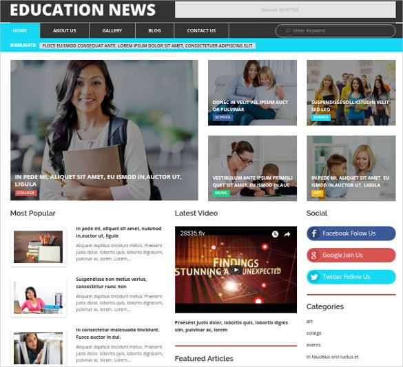 education news wordpress html 5theme