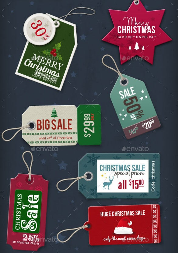 15 christmas price tags psd format