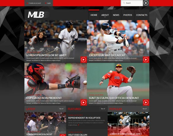 baseball news portal html 5 website template