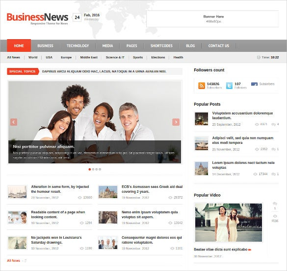 business news blog html 5 theme