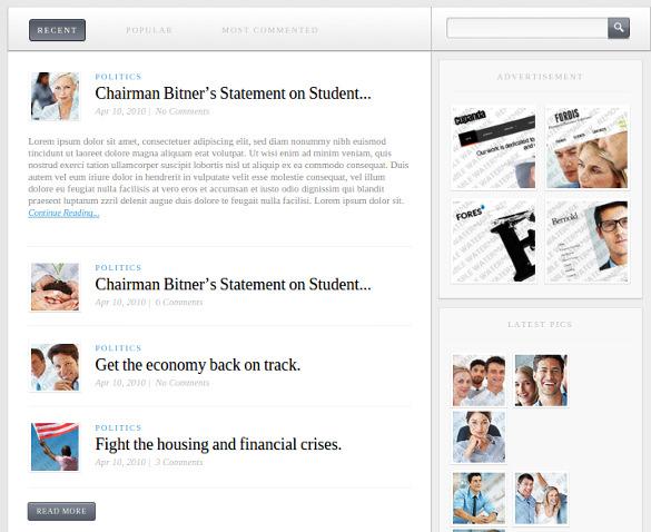 political news html 5 website template