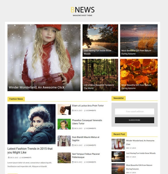 bnews responsive news ghost html 5 theme