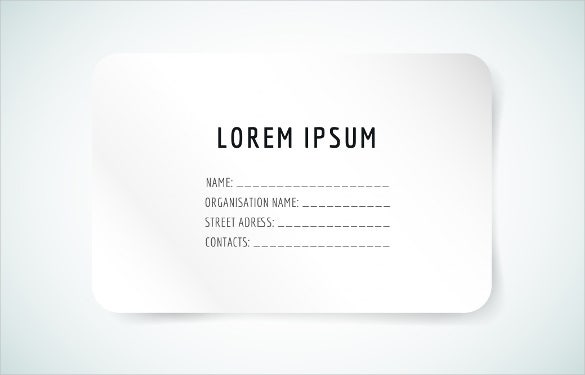 Business Card White Blank Template