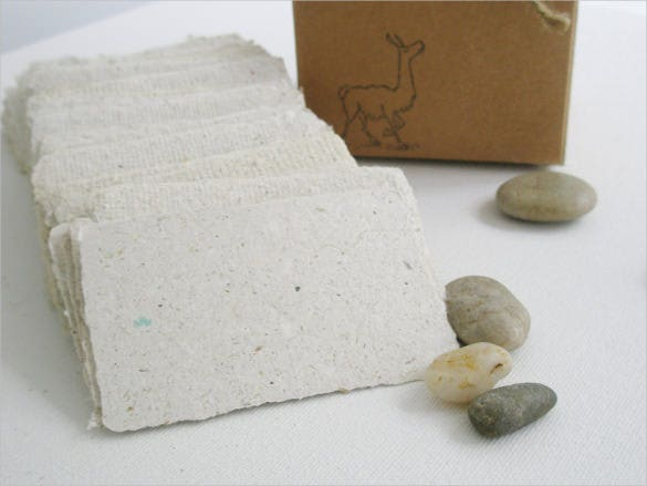llama poo paper blank business cards