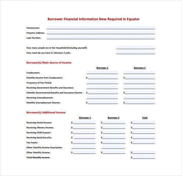 financial information task spreadsheet pdf template free download