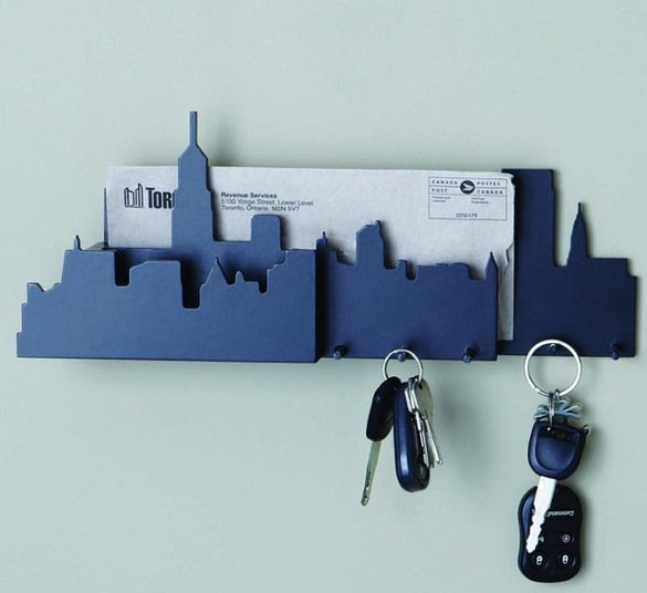 cityscape wall mounted key and mail holder