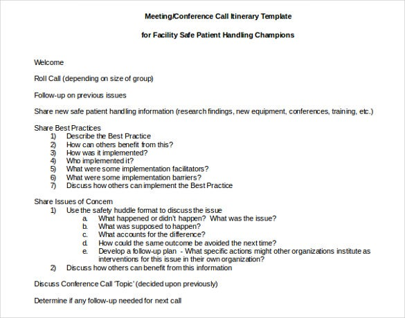Attractive Meeting Conference Call Itinerary Template Inside Business Itinerary Template With Meetings