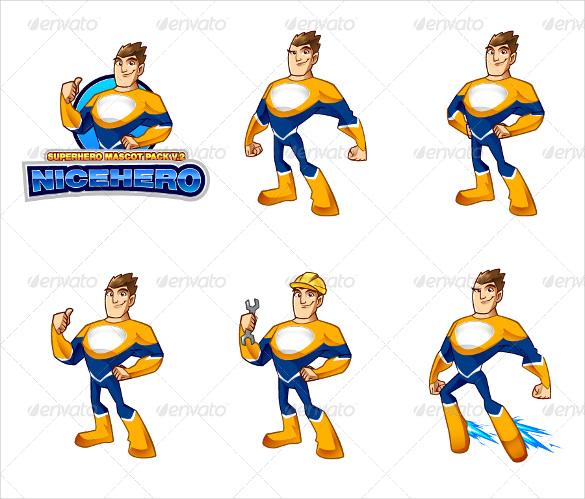 complete superhero mascot logo template