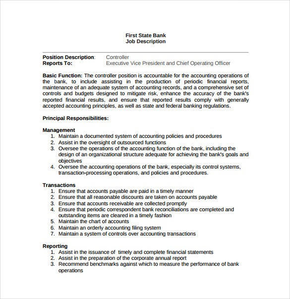Job Description Sample Bank Controller Job Description Sample
