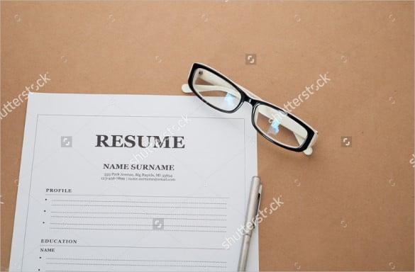 simple blank resume