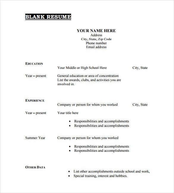 blank resume template in pdf - Blank Resume Template