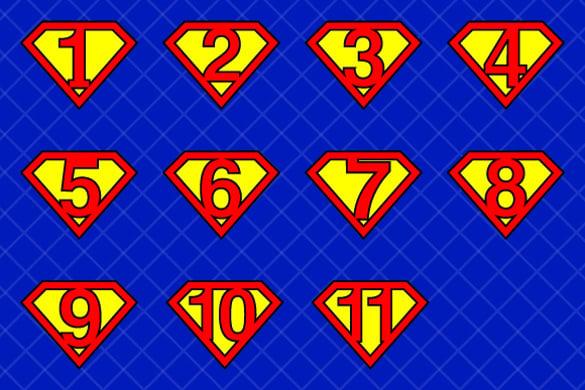 superhero logo in super numbers