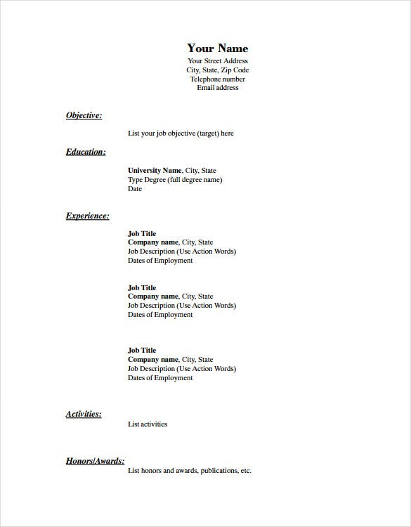 Sample Free Printable Resume Template Blank  Resume Sample