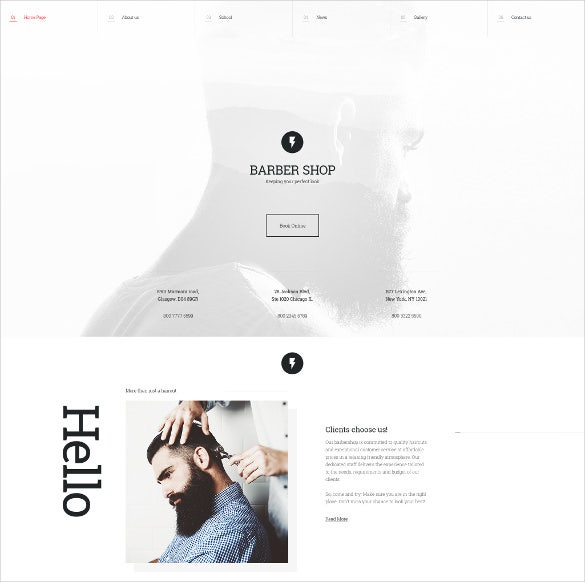 barber shop jquery html5 website template