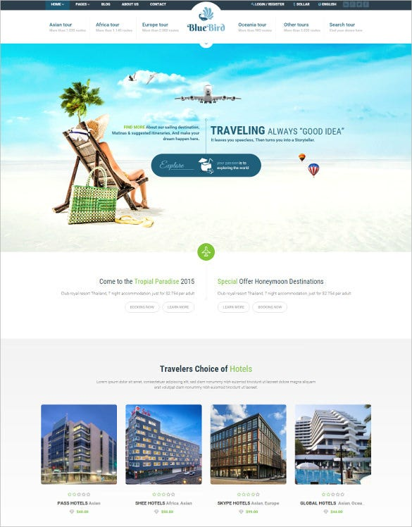 hotels tours travel wordpress jquery html5 theme