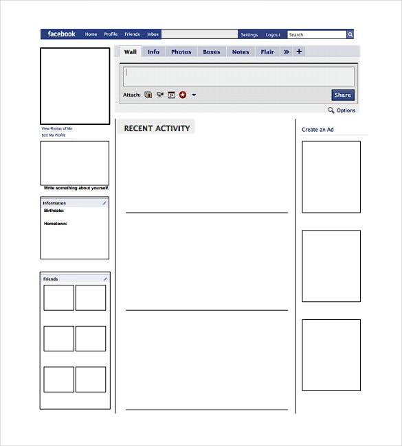 Blank facebook template 11 free word ppt psd for Blank word wall template free