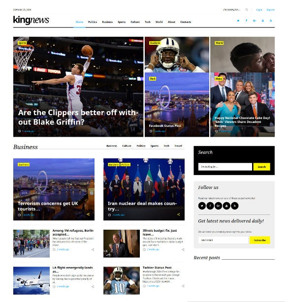 kingnews newspaper wordpress bootstrap theme
