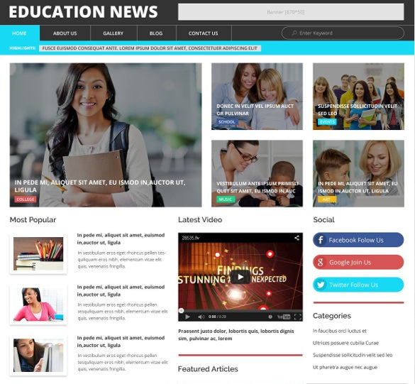 education news wordpress bootstrap theme