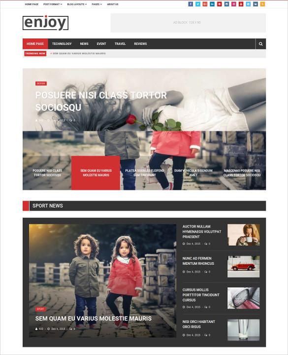 simple clean magazine blog wordpress theme