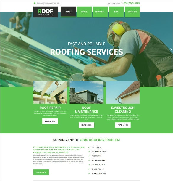 roof repair business wordpress theme