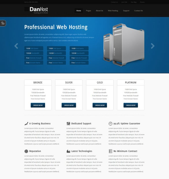 simple hosting php template